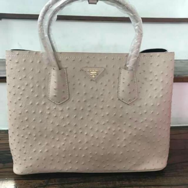 c54879841b39 PRADA Large Satchel Ostrich Leather White, Women's Fashion, Bags ...