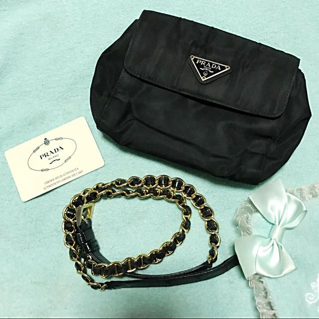 44ea8a9d6880 ... norway prada tessuto nylon belt bag with gold metal and leather chain  strap luxury bags wallets