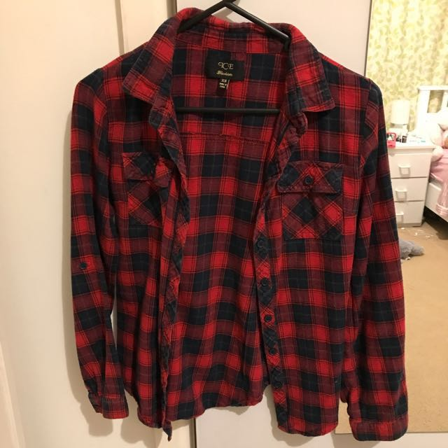 red and black flannel checked top
