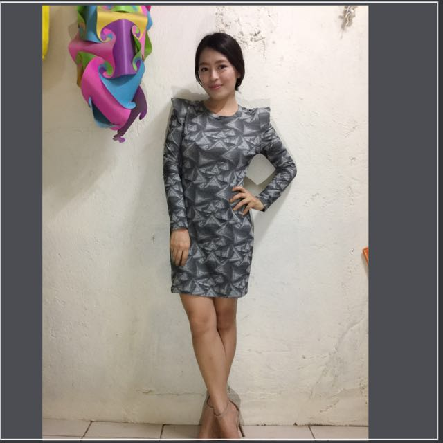 Repriced! Dress grey, black and white
