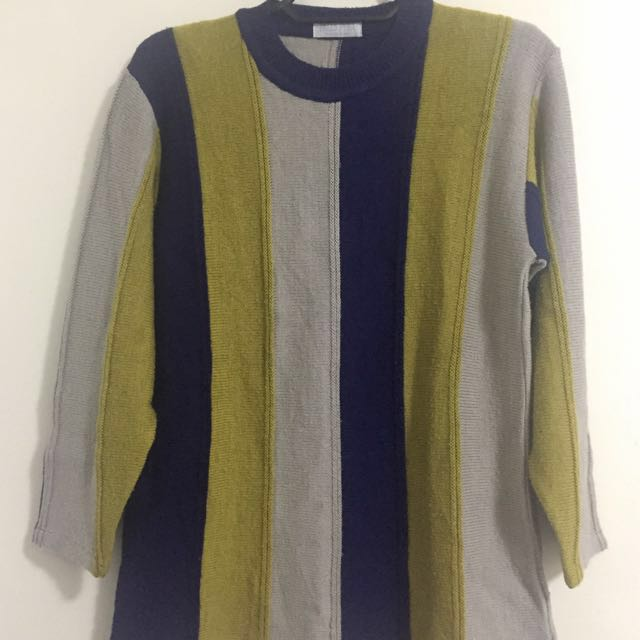 REPRICED Tricolor Knitted Sweater (Mustard, Navy blue, Beige)