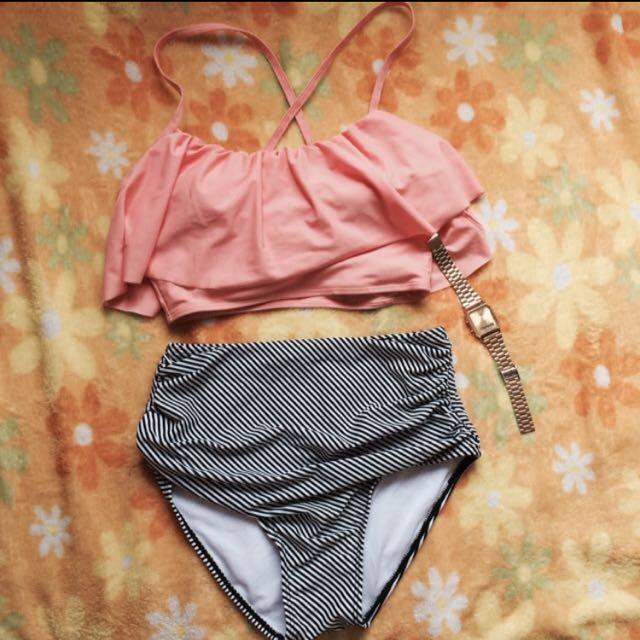 SALE!!! Cami crop top + high waist swimsuit