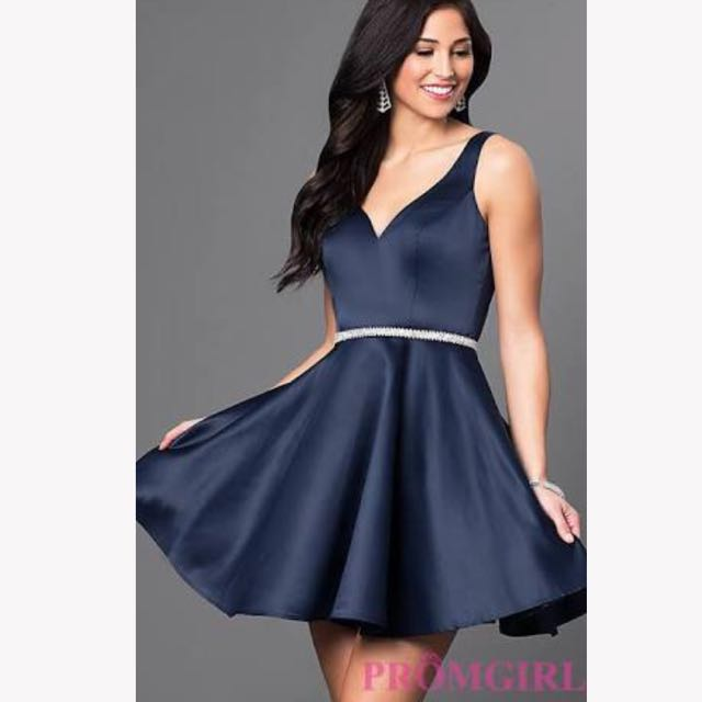Short navy prom dress