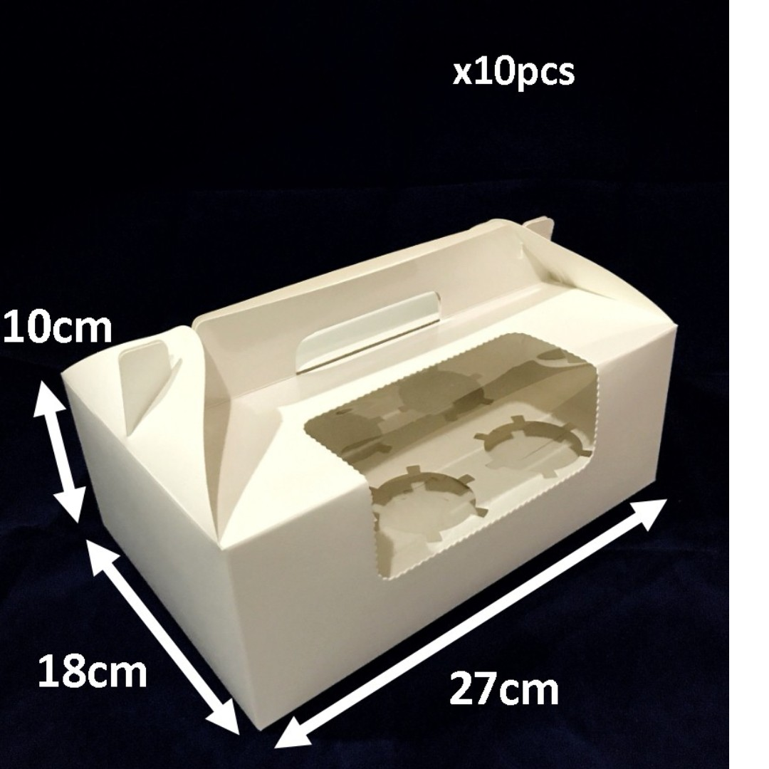 Standard 6 Cupcake Boxes with handle 10 pcs**Sale!**