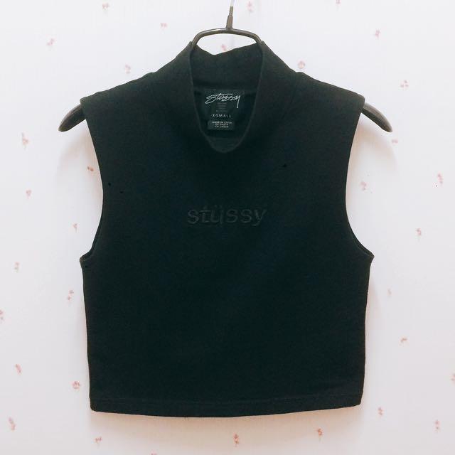 降價#Stussy 刺繡立領短版背心