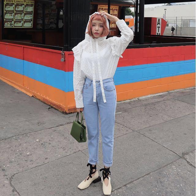 (免運/全新)Stylenanda 深藍極簡修身牛仔褲