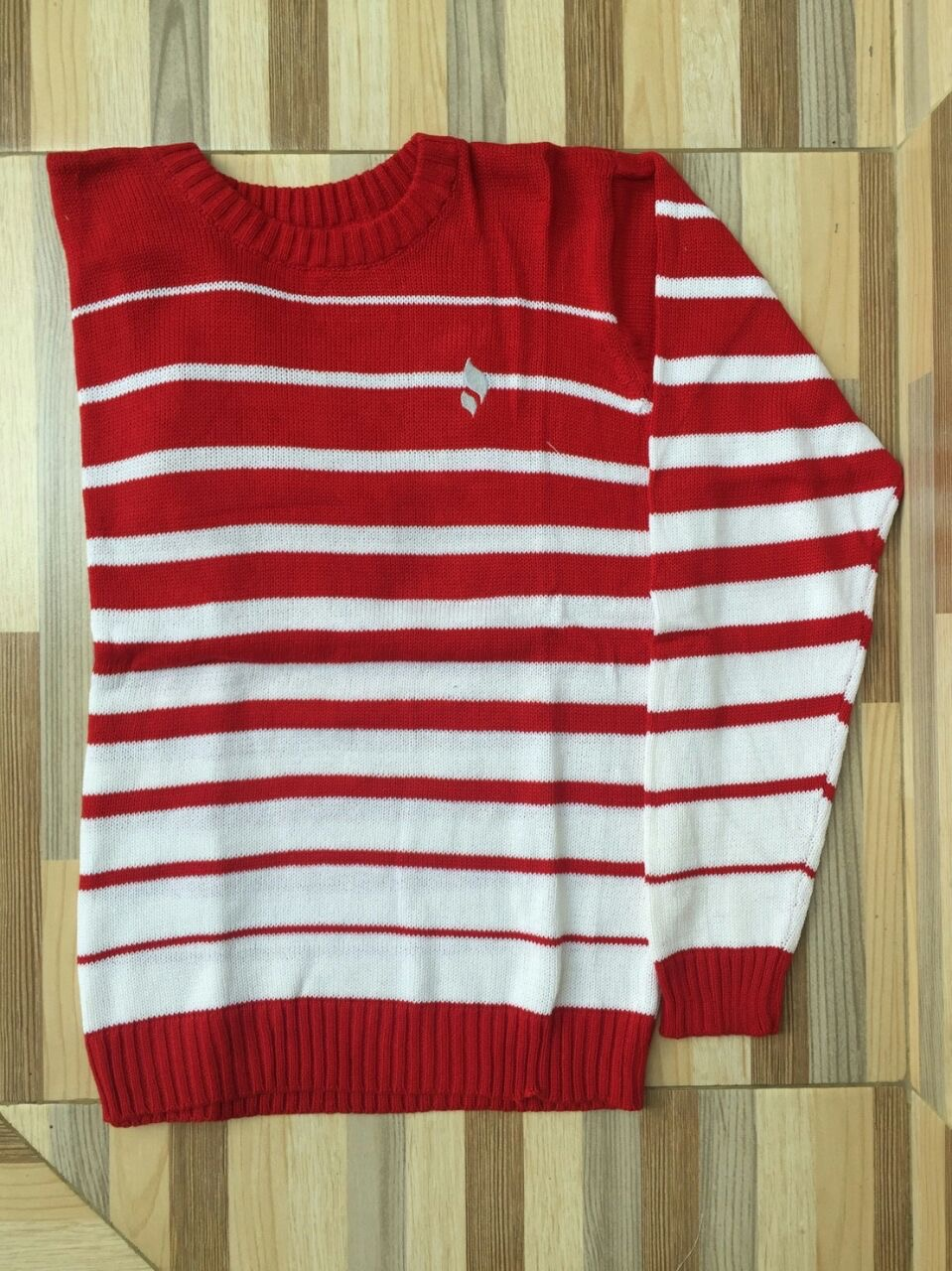 Sweater O-Neck Stripe White