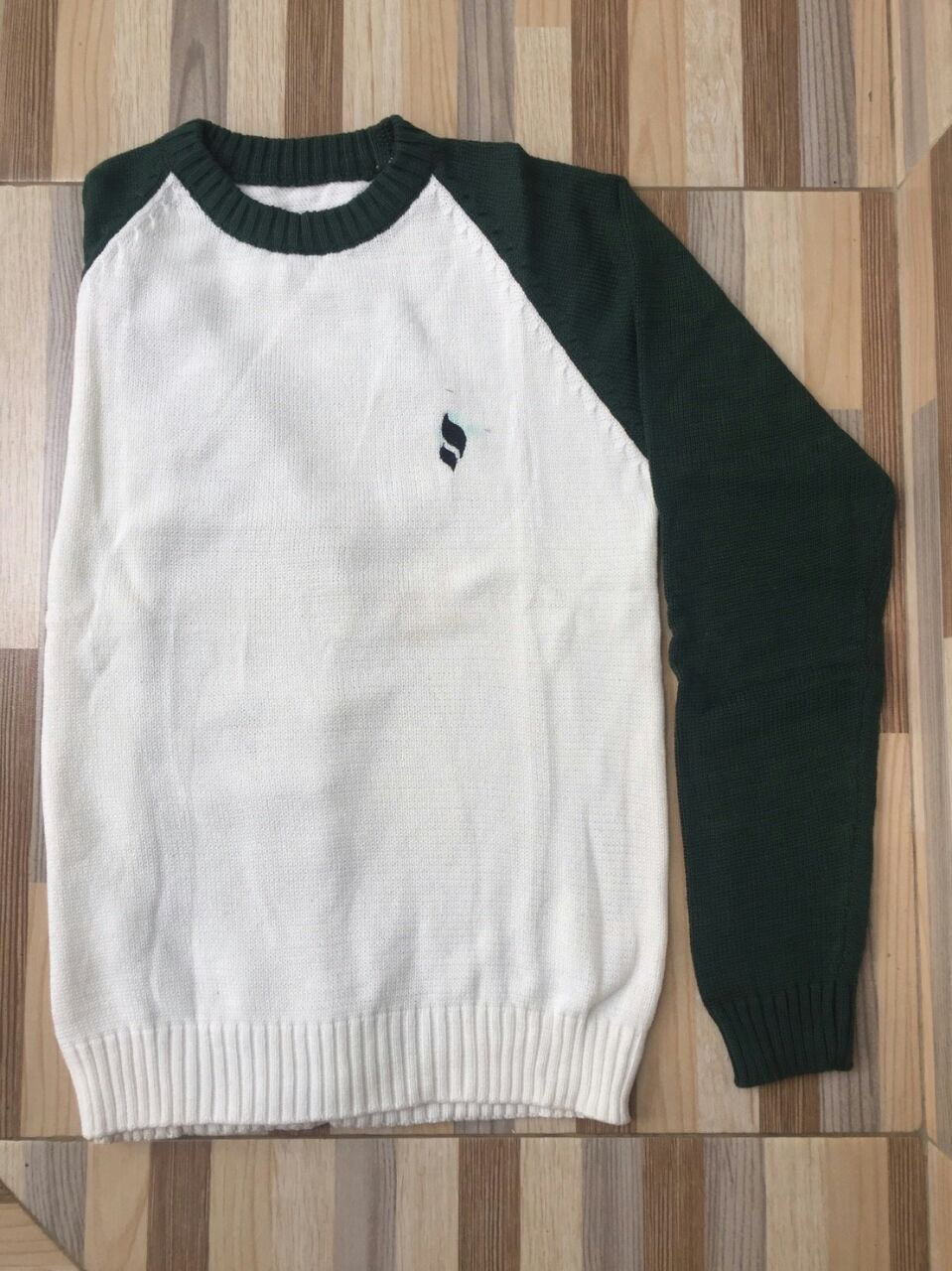 Sweater O-Neck White-Green
