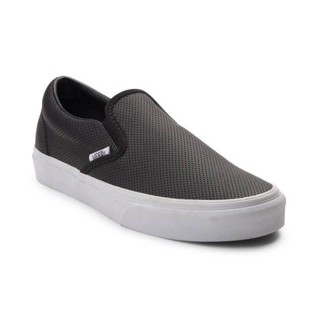 Vans Classic Perf Leather Black Slip Ons