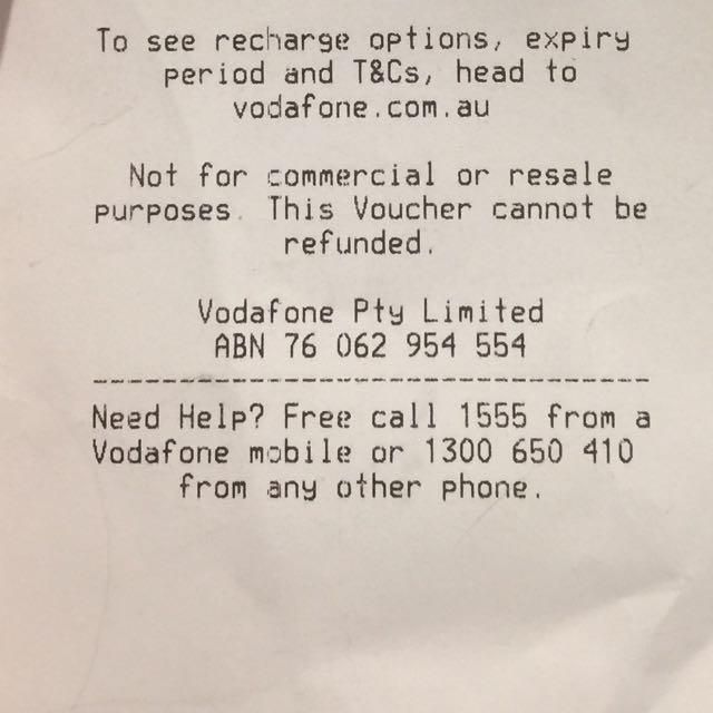 Vodafone Prepaid Mobile or Mobile Broadband, Tickets