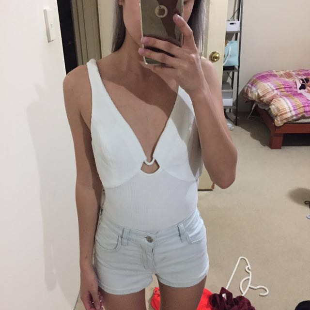 White bodysuit with detailed back size 6
