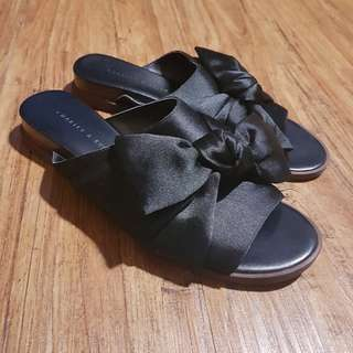 Charles & Keith Bow Sliders Ribbon Slip On Sandals