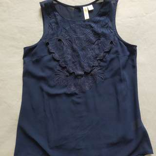 Navy Blue Embroidered Tank