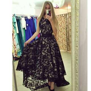 PO Lace high low maxi dress