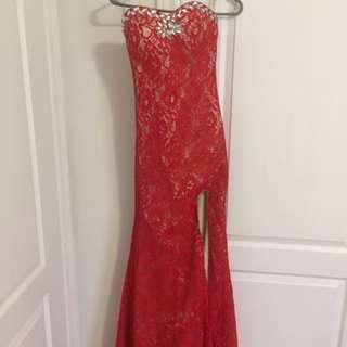 Long red evening dress/prom dress