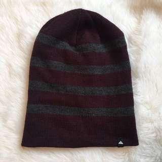 Maroon & Grey Striped Beanie