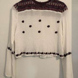 Patrons Of Peace Size M White & Burgundy Top