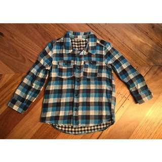 Boys Country Road blue check shirt, size 3