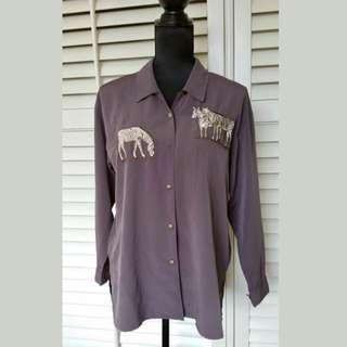 Vintage grey M/L zebra women shirt top blouse long sleeve button down Classic