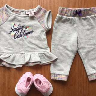 Juicy Couture Baby Girl Outfit Size 6 - 9 months + Pink Booties - $10