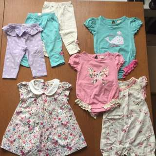 Hatley Baby Girls Summer Clothing, 3 Leggings, 3 Rompers, 1 Dress - $40