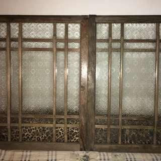日式實木海棠玻璃老窗