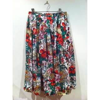 Funky Vintage Tropical Birds Skirt Size 12
