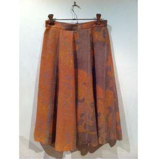 Orange Floral Patterned Skirt Size 10