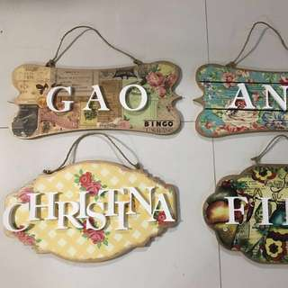 Personalised name wooden hanger