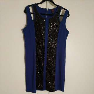 Bebe blue and blk sequin dress XL