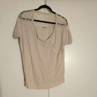 Beige express tshirt size L