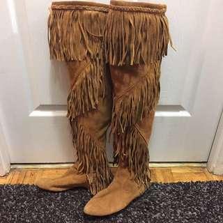Sam Edelman Thigh High Fringe Suede Boots 6.5