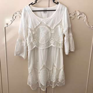 BNWOT White Crochet Bell Sleeve Dress