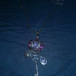 Purple crown long necklace