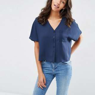 (sell by 20/10/17) NEW ASOS Navy Blouse