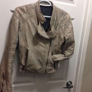 BOD & CHRISTENSEN distressed leather jacket size small S unique colour!