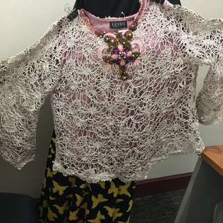 Blouse Brokat Pink Beads - Luire by Raden Sirait