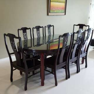 Rosewood 8-Seater Retractable Dining Table(Longevity)