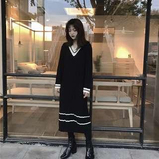 特價)兩色V領針織長版條紋拉高比例秋冬必備連身裙🔥