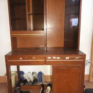 Wooden Study Table with glassed bookshelf