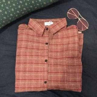 韓系寬鬆開衩格子長袖襯衫
