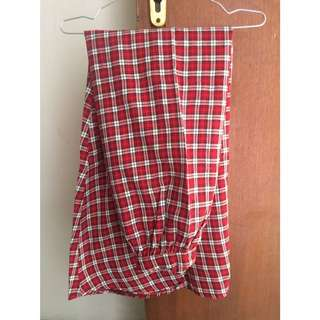 Long Red Tartan Skirt / Rok panjang Hijab