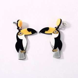 Acrylic toucan bird earrings