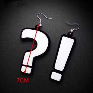 White question and punctuation mark pendant hook earrings