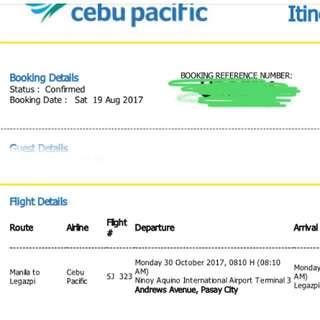 Manila-Legazpi Plane Ticket 8:10amdep- 9:20am Arr, Oct 30,2017 Monday