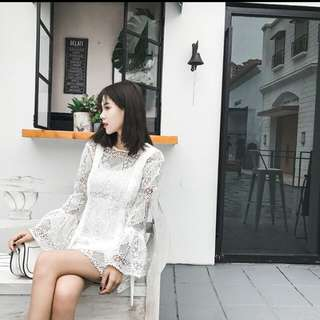 White Lace Dress with Trumpet Sleeves
