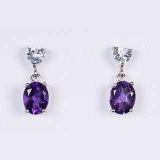 Amethyst and aquamarine earrings