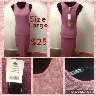 Cotton On Rose Pink Ribbed Dress Size L