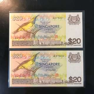 1979 Bird Series $20, A/69 476221 - 476222 , 2 Pcs Run With Fancy Number 222
