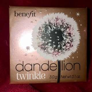 Benefit Cosmetics Dandelion Twinkle Strobing Powder with application brush